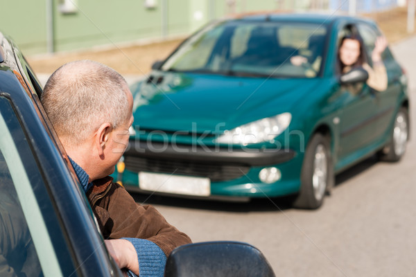 Man pulling a woman's car with problems Stock photo © CandyboxPhoto