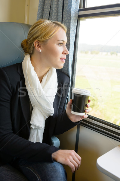Woman looking out the train window pensive Stock photo © CandyboxPhoto