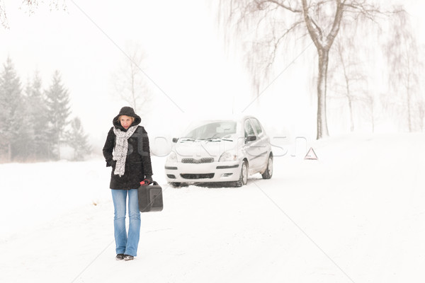 Woman walking with gas can winter car Stock photo © CandyboxPhoto