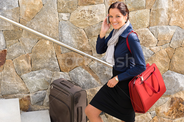 Smiling woman talking phone business traveling rushing Stock photo © CandyboxPhoto