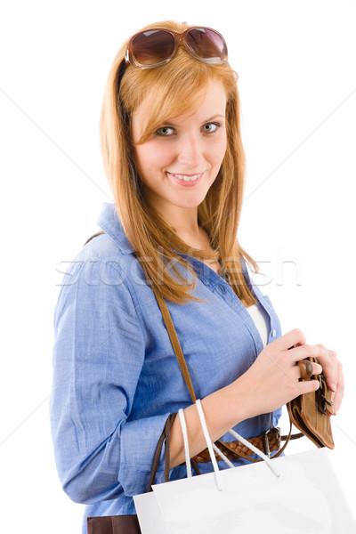 ショッピング 若い女性 紙袋 白 女性 紙 ストックフォト © CandyboxPhoto