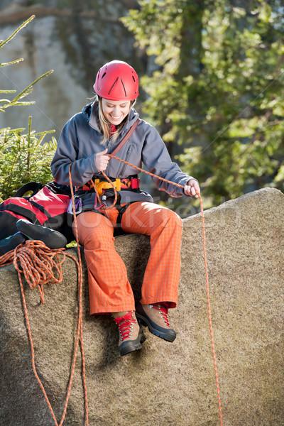 Aktív nő hegymászás tart kötél fiatal nő Stock fotó © CandyboxPhoto