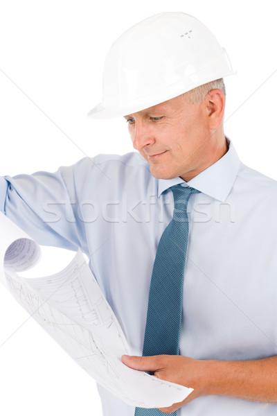 Foto stock: Senior · profissional · arquiteto · masculino · capacete · olhando