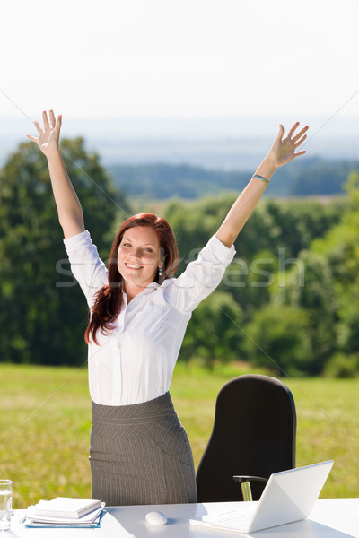 Stock photo: Businesswoman in sunny nature office hands up