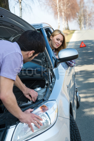 Car troubles couple starting broken vehicle Stock photo © CandyboxPhoto