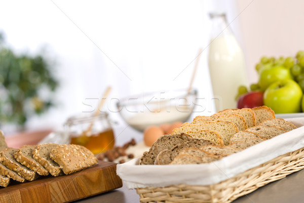Sliced bread with baking dough ingredients Stock photo © CandyboxPhoto