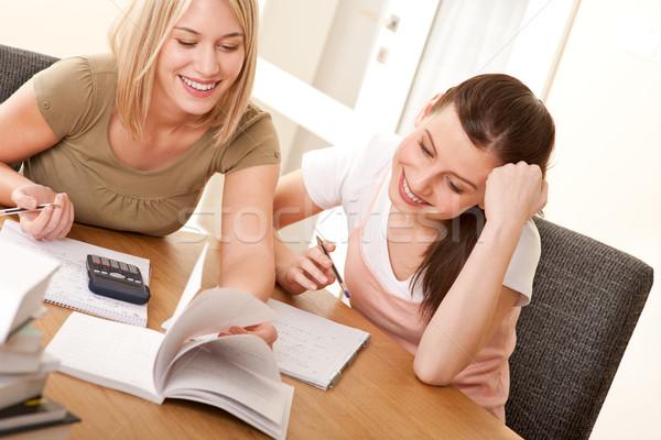 Photo stock: étudiant · deux · filles · étudier · ensemble · femme