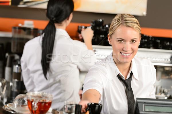 Genç garson kasiyer kahve kafe mutlu Stok fotoğraf © CandyboxPhoto