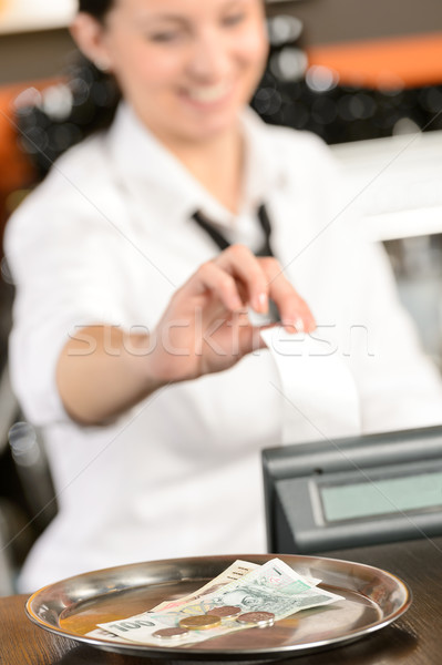 Young cashier giving receipt czech crowns Stock photo © CandyboxPhoto