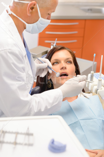 Scared patient at dentist office Stock photo © CandyboxPhoto