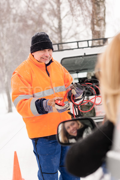 Man help woman broken car starting cables Stock photo © CandyboxPhoto
