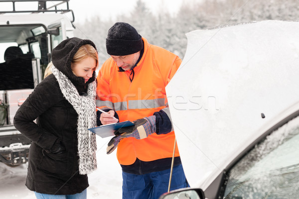 Stock photo: Woman fill document broken car snow mechanic
