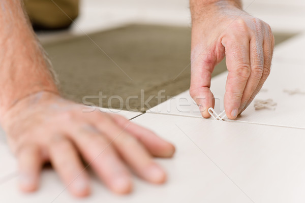 Home improvement - handyman placing tile spacer Stock photo © CandyboxPhoto