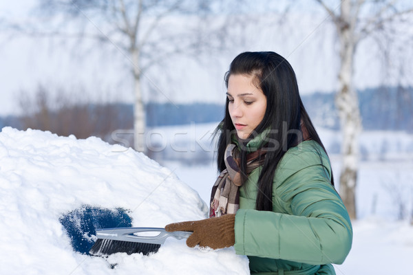 Winter car - woman remove snow from windshield Stock photo © CandyboxPhoto