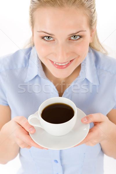 ストックフォト: 若い女性 · コーヒー · 白 · 幸せ · ドリンク