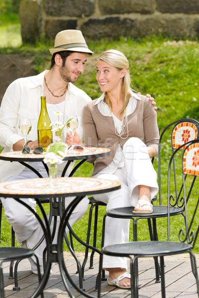 Ristorante terrazza elegante Coppia celebrare Foto d'archivio © CandyboxPhoto