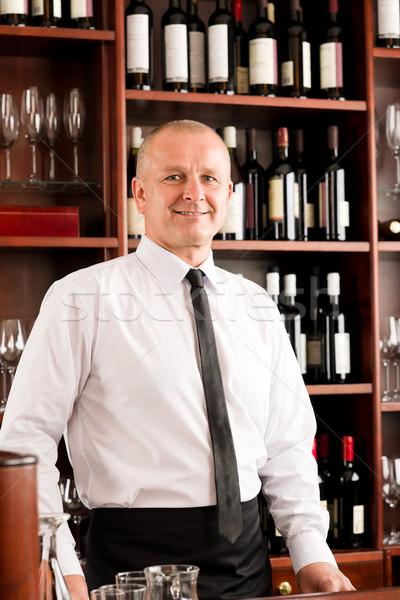 Wine bar waiter happy male in restaurant Stock photo © CandyboxPhoto