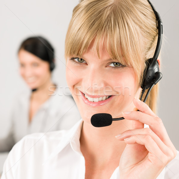 Kundendienst Frau Call Center Telefon Headset Team Stock foto © CandyboxPhoto