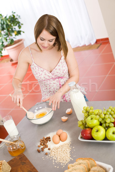 Baking - Happy woman prepare healthy ingredients dough Stock photo © CandyboxPhoto