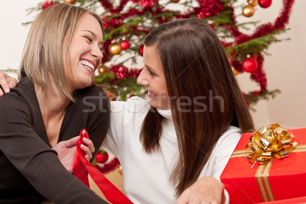 Stock photo: Two young women in front of Christmas tree