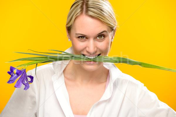 женщину укусить весны Iris цветок зубов Сток-фото © CandyboxPhoto