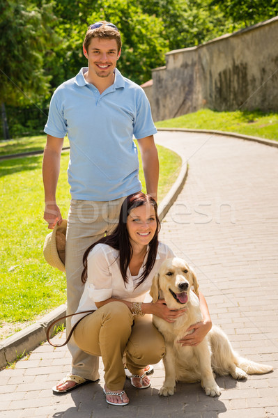 Happy couple with dog on park alley Stock photo © CandyboxPhoto