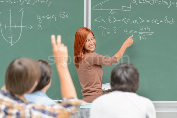 Matematika diák ír zöld tábla osztálytársak Stock fotó © CandyboxPhoto