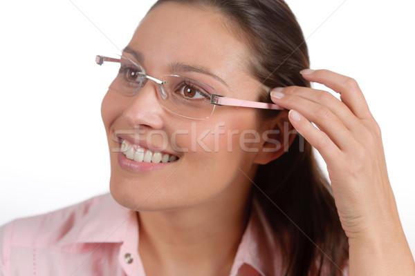 Stock fotó: Designer · szemüveg · trendi · nő · divat · portré