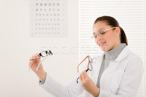 Ottico medico donna occhiali occhi grafico Foto d'archivio © CandyboxPhoto