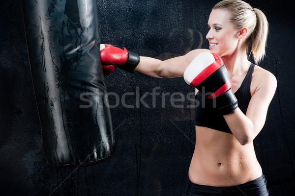 Box képzés nő homokzsák tornaterem visel Stock fotó © CandyboxPhoto