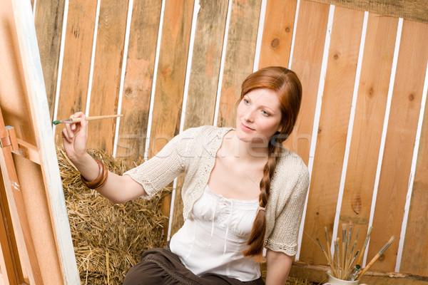 ロマンチックな 女性 絵画 納屋 小さな 赤毛 ストックフォト © CandyboxPhoto