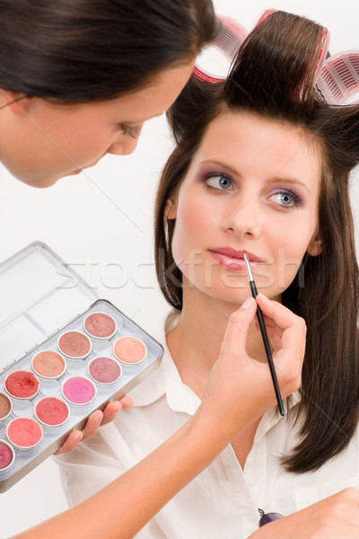 Make-up artist woman fashion model apply lipstick Stock photo © CandyboxPhoto