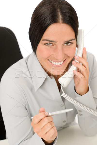 Smiling businesswoman attractive calling Stock photo © CandyboxPhoto