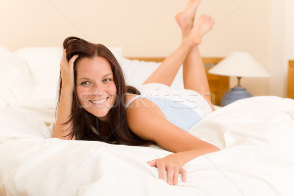 Bedroom - beautiful woman waking up white bed Stock photo © CandyboxPhoto