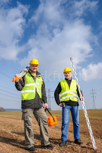 Geodesist two man equipment on construction site Stock photo © CandyboxPhoto