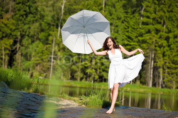 Mutlu romantik kadın güneş şemsiyesi güneş ışığı Stok fotoğraf © CandyboxPhoto