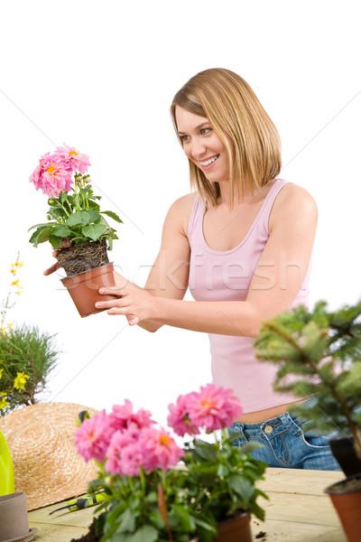 Tuinieren gelukkig vrouw bloempot Stockfoto © CandyboxPhoto