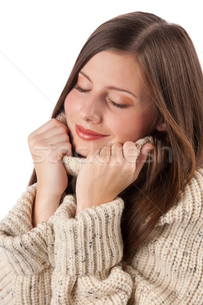 Stock photo: Portrait of beautiful young woman wearing turtleneck