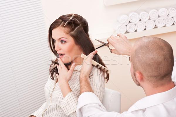 Сток-фото: профессиональных · парикмахер · Cut · ножницы · салона · мужчины