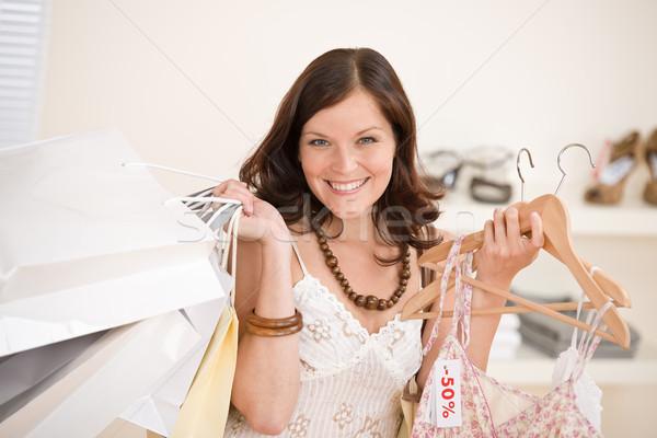 Foto stock: Moda · compras · feliz · mulher · escolher · venda