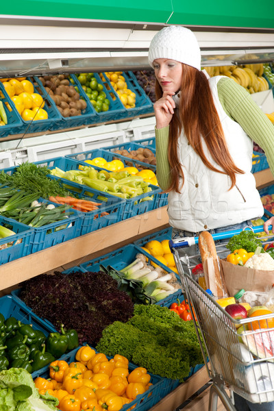 Grocery store shopping - Red hair woman in winter outfit Stock photo © CandyboxPhoto