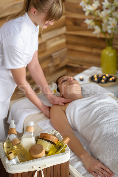 Beauty products in luxury spa room Stock photo © CandyboxPhoto