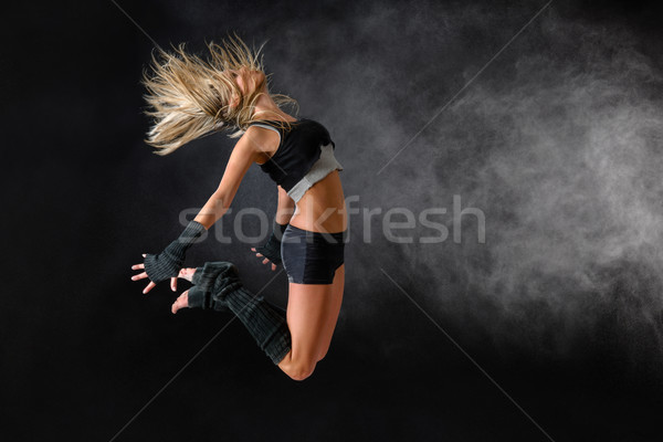 Beautiful dancer exercise jump in studio practice Stock photo © CandyboxPhoto