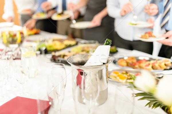 Negócio celebração garrafa de vinho resfriamento balde companhia Foto stock © CandyboxPhoto