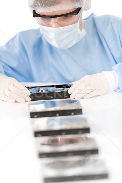 Homme ordinateur ingénieur femme réparation disque Photo stock © CandyboxPhoto