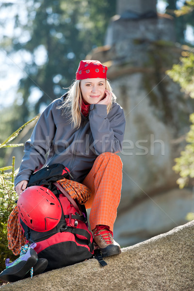 Active woman rock climbing with backpack Stock photo © CandyboxPhoto