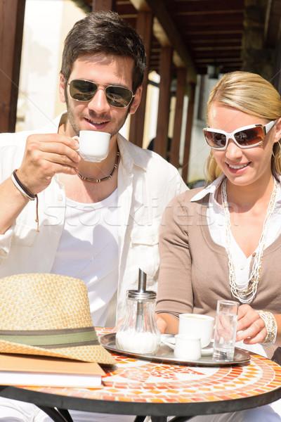 Ristorante terrazza elegante Coppia bere caffè Foto d'archivio © CandyboxPhoto
