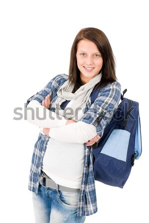 Student teenager happy girl with schoolbag Stock photo © CandyboxPhoto