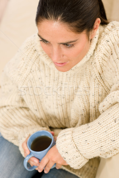 Winter portrait of happy woman holding cup of coffee Stock photo © CandyboxPhoto