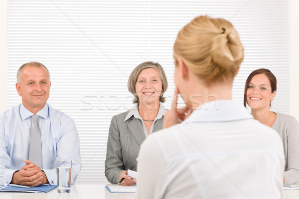 Stockfoto: Sollicitatiegesprek · jonge · vrouw · business · team · business · interview · professionele